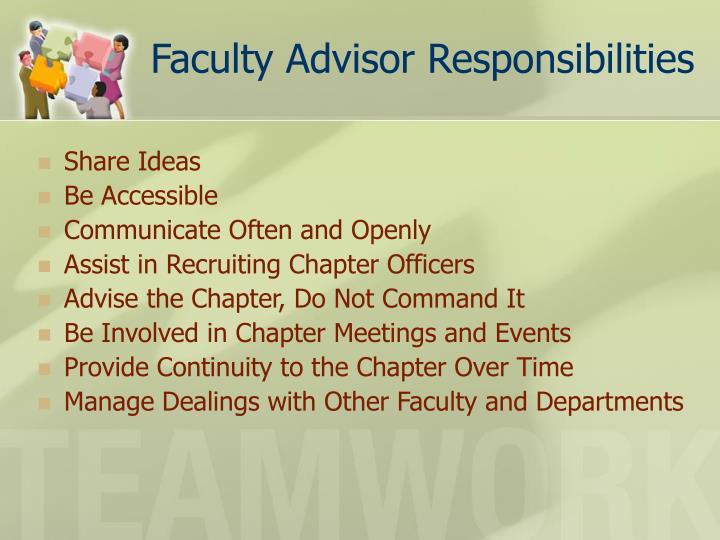 Faculty Advisor Responsibilities