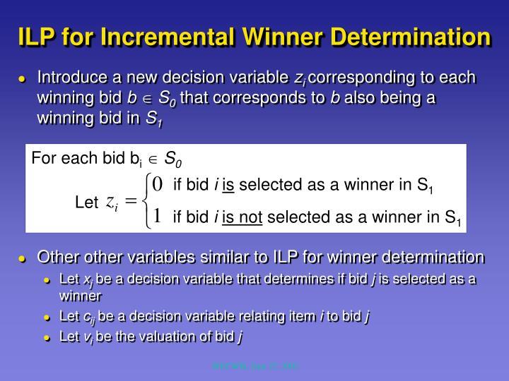 ILP for Incremental Winner Determination