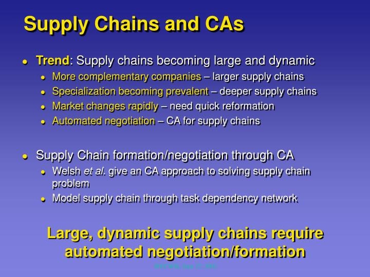 Supply Chains and CAs