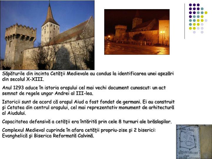 Spturile din incinta Cetii Medievale au condus la identificarea unei aezri din secolul X-XIII.