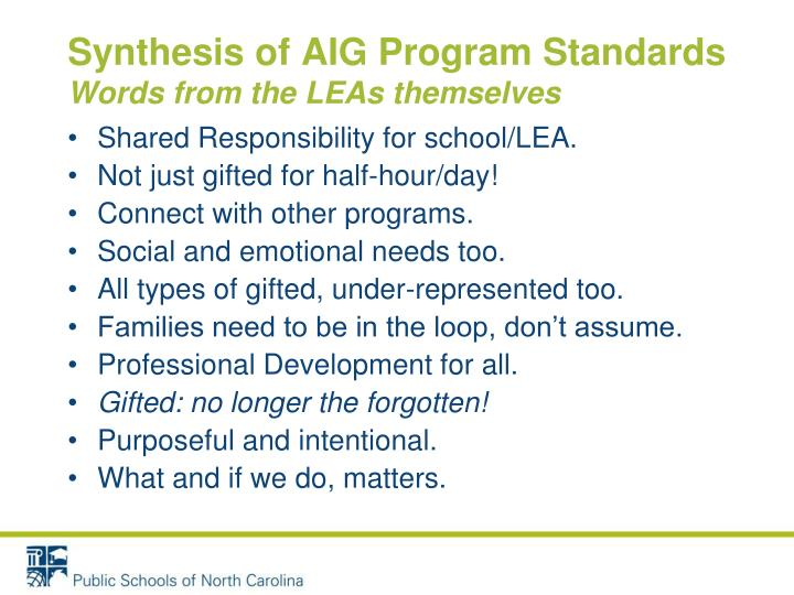 Synthesis of AIG Program Standards