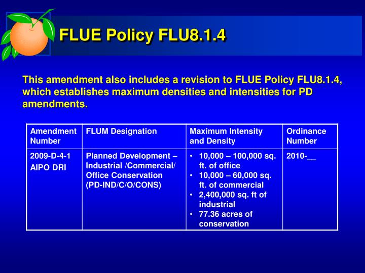 FLUE Policy FLU8.1.4