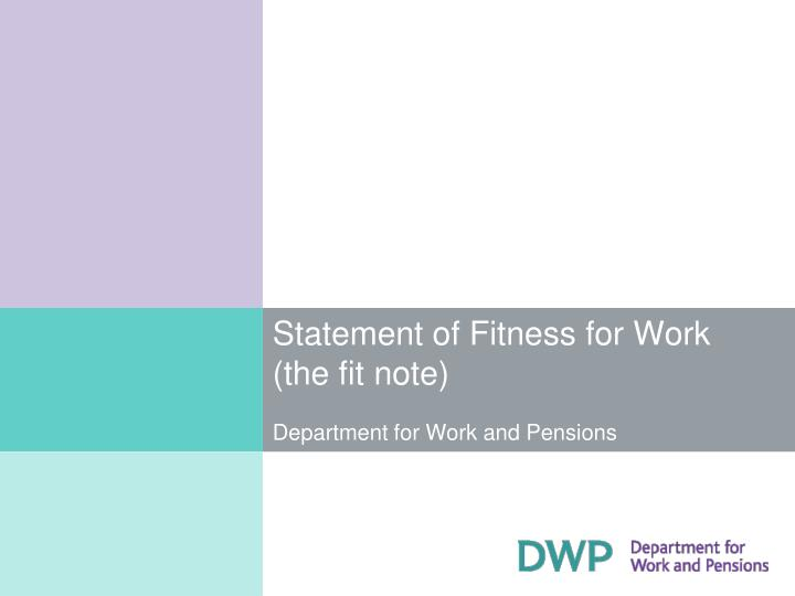 Ppt - Statement Of Fitness For Work (The Fit Note) Department For