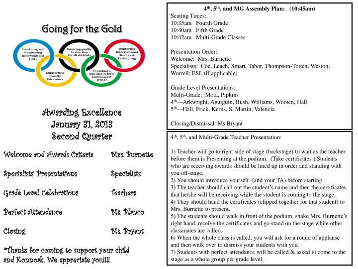 Going for the gold awarding excellence january 31 2013 second quarter2