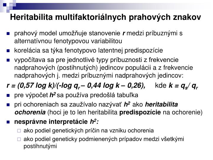 Heritabilita multifaktoriálnych prahových znakov