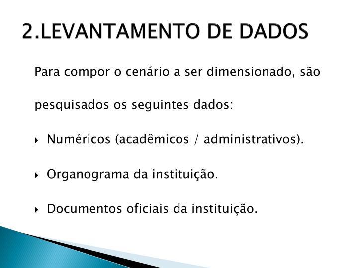2.LEVANTAMENTO DE DADOS