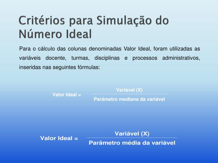 Critérios para Simulação do Número Ideal