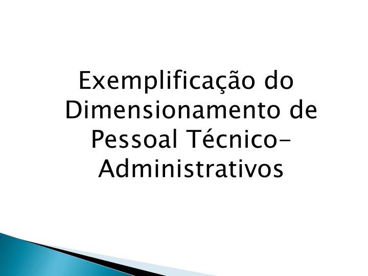 Exemplificação do Dimensionamento de Pessoal Técnico-Administrativos
