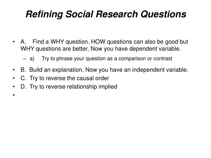 Refining social research questions