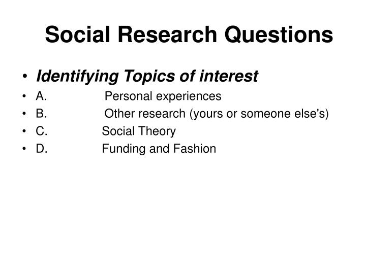 Social research questions
