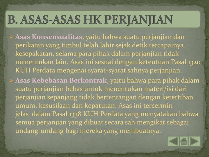 B. ASAS-ASAS HK PERJANJIAN