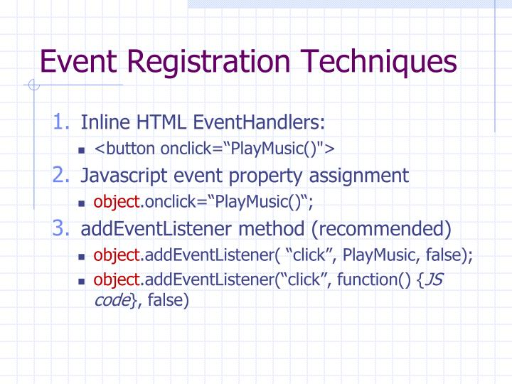 Event Registration Techniques