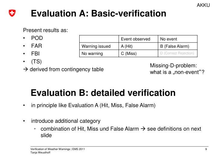 Evaluation A: Basic-verification
