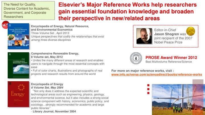 Elsevier's Major Reference Works help researchers
