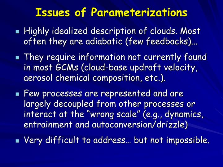 Issues of Parameterizations