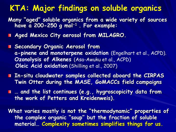 KTA: Major findings on soluble organics