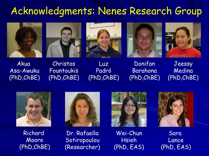 Acknowledgments: Nenes Research Group