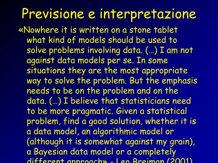 Previsione e interpretazione