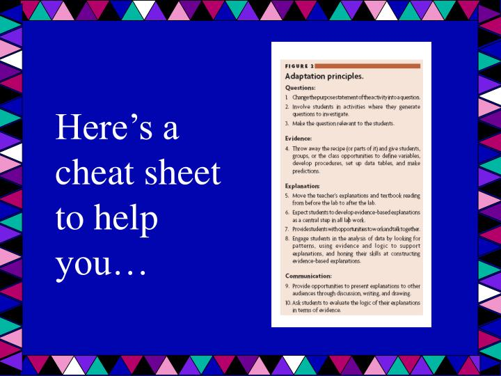 Here's a cheat sheet to help you…