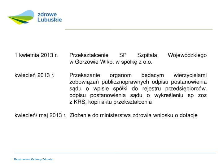 1 kwietnia 2013 r. Przekształcenie SP Szpitala Wojewódzkiego