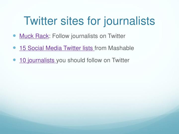 Twitter sites for journalists