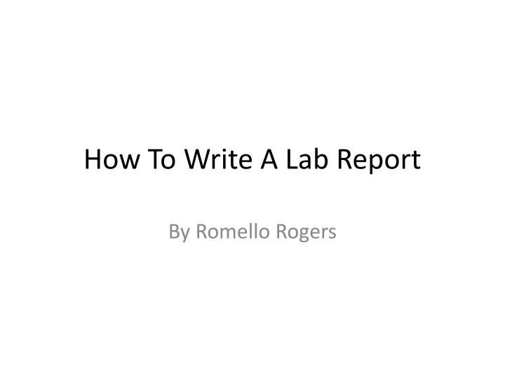 How to write a lab report physics