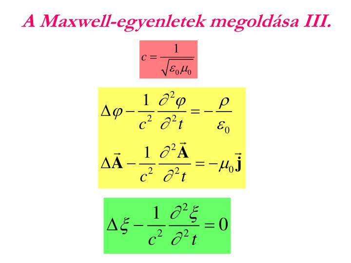 A Maxwell-egyenletek megoldása III.