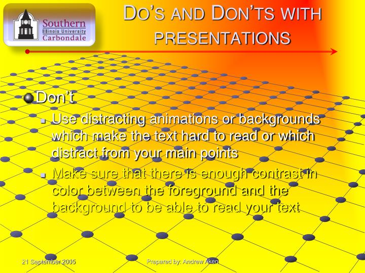 Do's and Don'ts with presentations