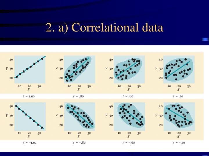2. a) Correlational data