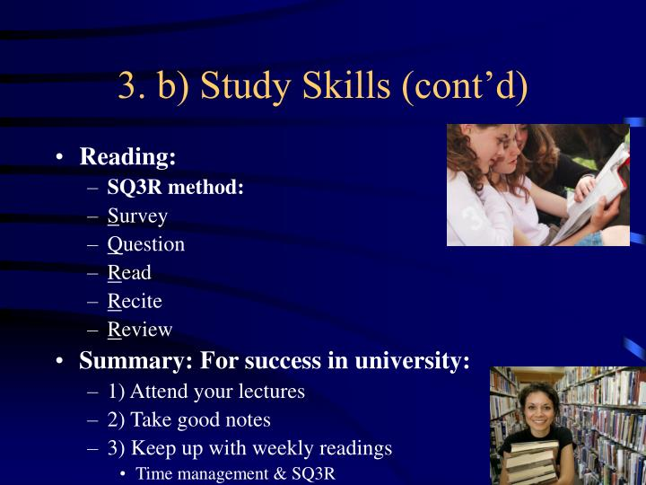 3. b) Study Skills (cont'd)