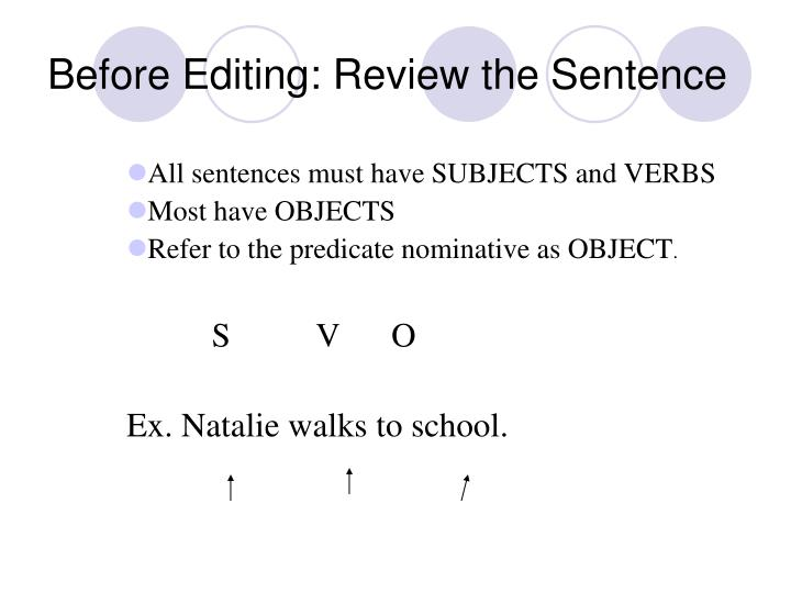 Before Editing: Review the Sentence