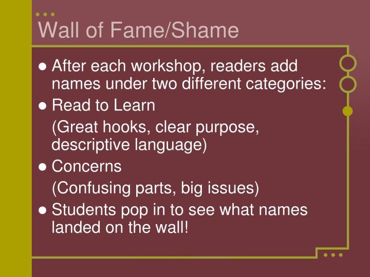Wall of Fame/Shame