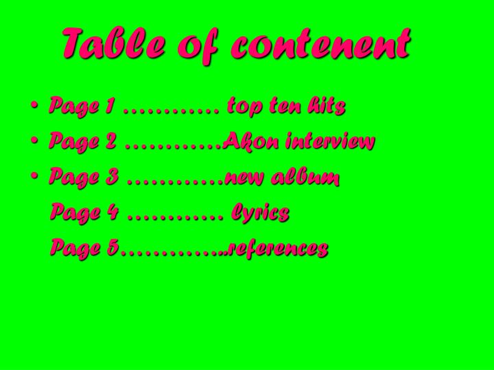Table of contenent
