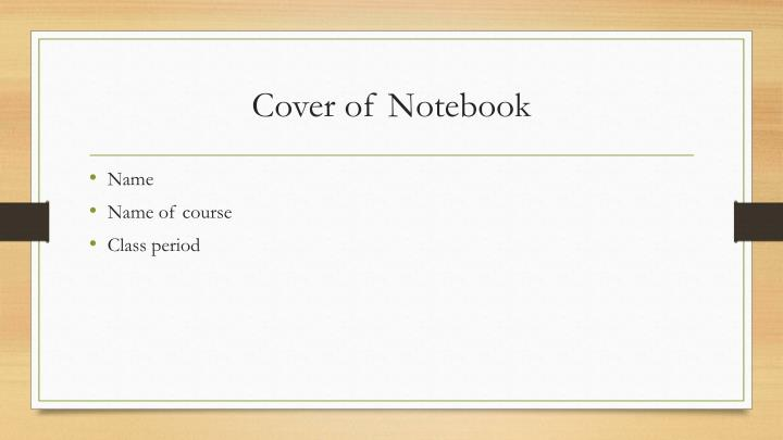 Cover of notebook