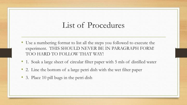 List of Procedures