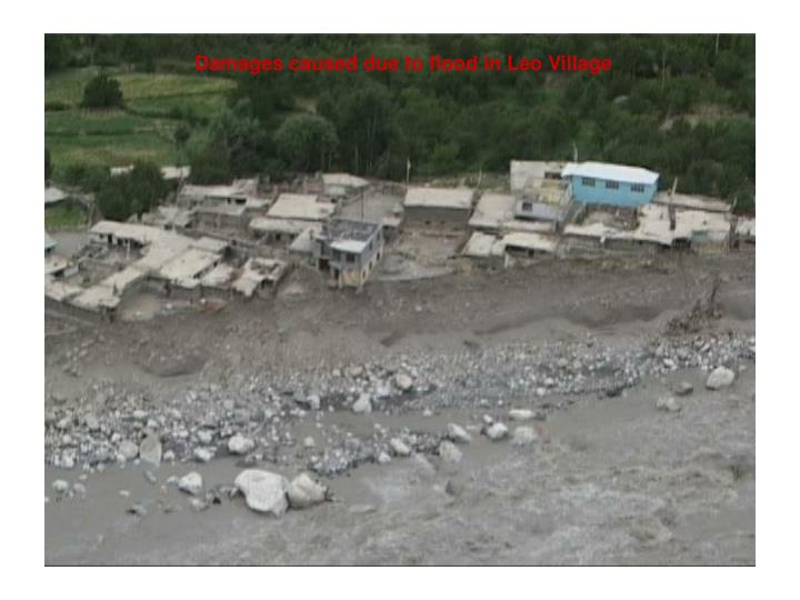 Damages caused due to flood in Leo Village