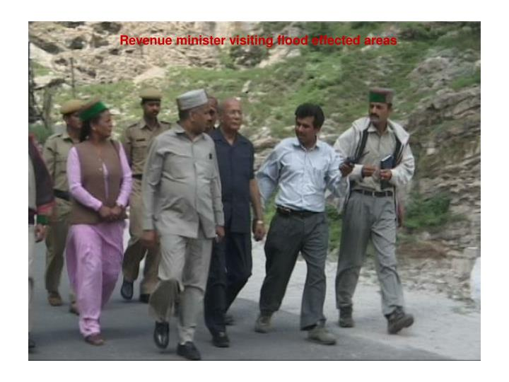 Revenue minister visiting flood effected areas