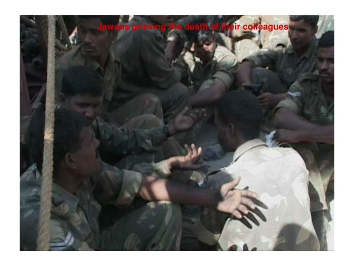 Jawans grieving the death of their colleagues