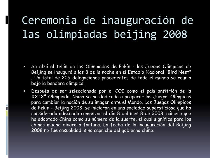 Ceremonia de inauguración de las olimpiadas