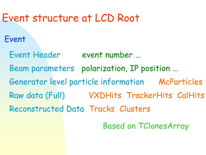 Event structure at LCD Root