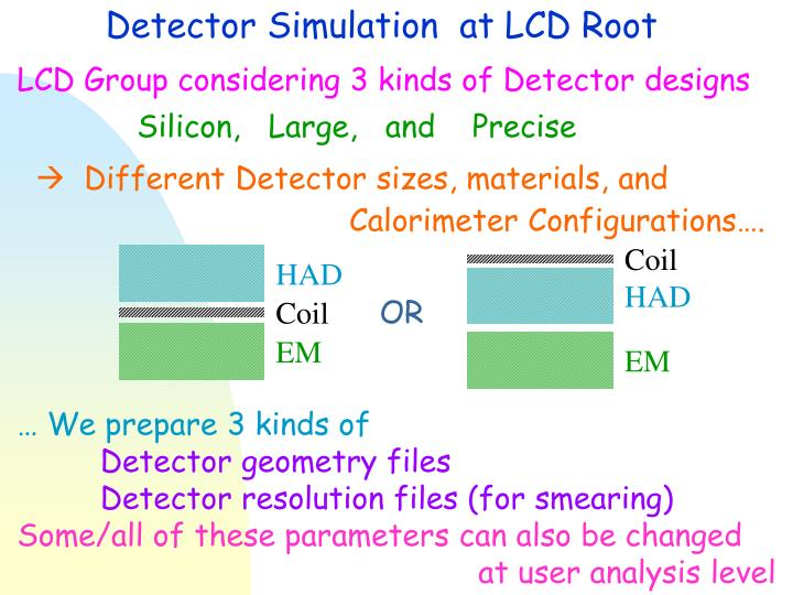 Detector Simulation  at LCD Root