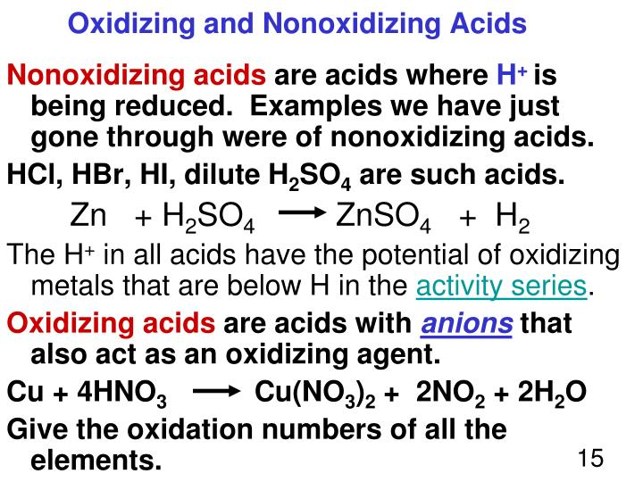 Oxidizing and Nonoxidizing Acids