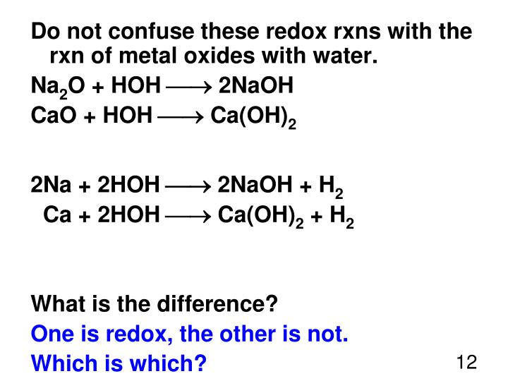 Do not confuse these redox rxns with the rxn of metal oxides with water.