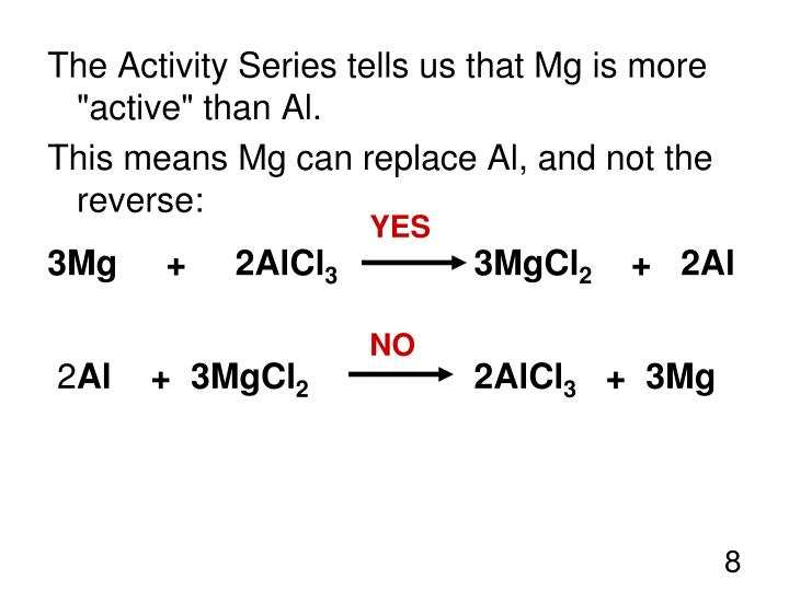 "The Activity Series tells us that Mg is more ""active"" than Al."