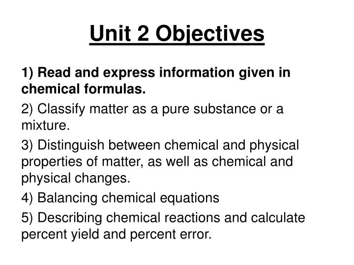 Unit 2 objectives