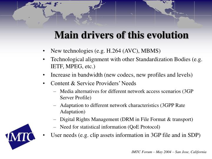 Main drivers of this evolution