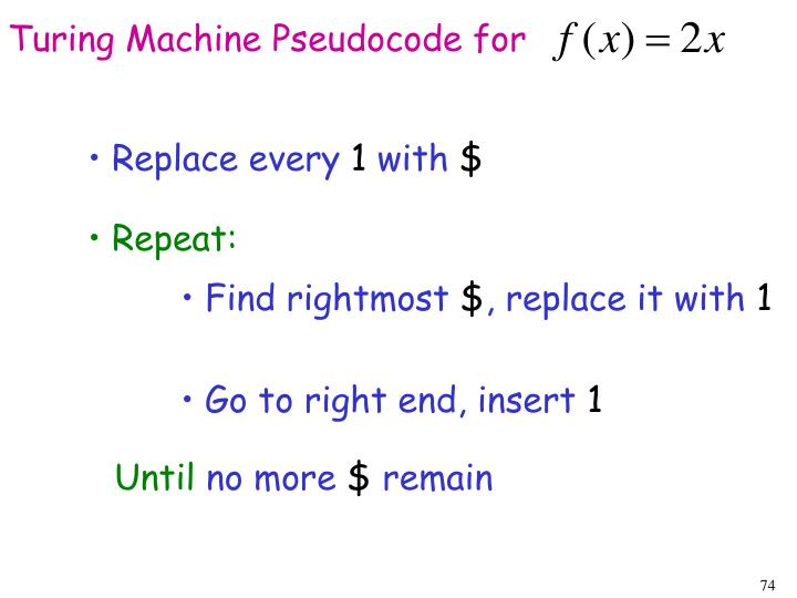 Turing Machine Pseudocode for