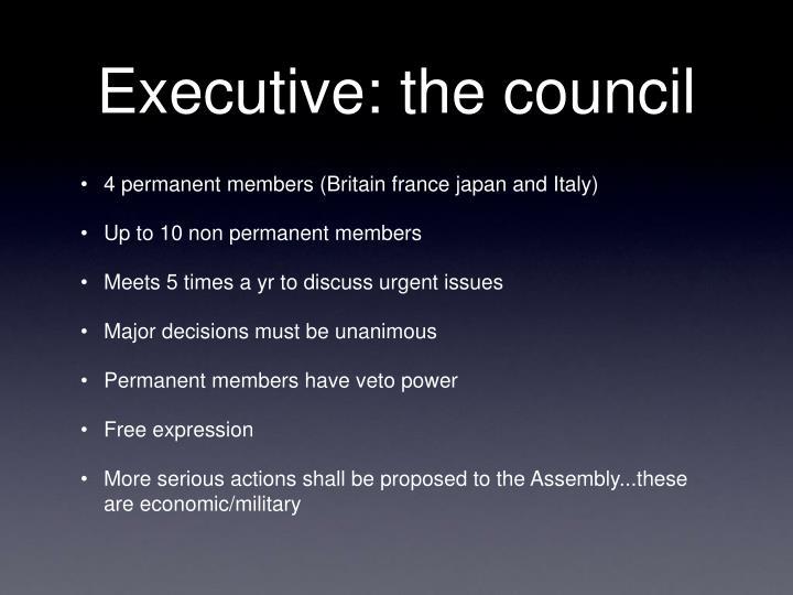Executive: the council