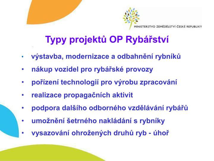 Typy projektů OP Rybářství