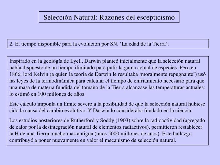 Selección Natural: Razones del escepticismo